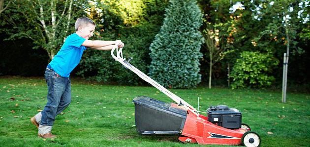 mowing kid